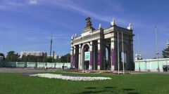 The main entrance archway (in 4k) to VDNKh, Moscow, Russia. Stock Footage
