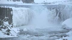 Waterfall Selfoss in wintertime, Iceland Stock Footage