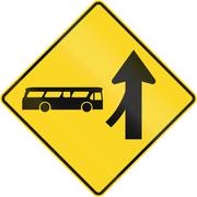 Merge With Bus From Left Ahead In Canada - stock illustration