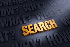 Questions Illuminate Search - stock illustration