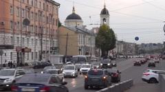 Many cars moving along Tverskoy Prospect Stock Footage