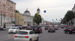 Many cars moving along Tverskoy Prospect one of the main streets in Tver Stock Footage