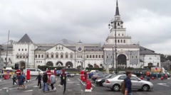The building of the Kazan railway station on a cloudy day Stock Footage