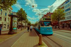 Tram in Kungsportsavenyen, Kingsgate Avenue, downtown Gothenburg - stock photo