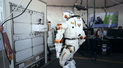 NASA Valkyrie Robot Walking Backwards and Turning Stock Footage