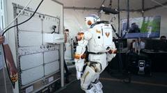 NASA Valkyrie Robot Walking Backwards and Turning - stock footage