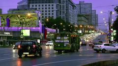 Traffic and festive day in Moscow city Stock Footage