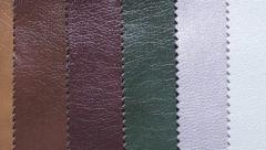 Samples of colored leather Stock Footage