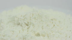 White powder medicine, drugs on a white background macro closeup rotation. Stock Footage