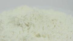 White powder medicine, drugs on a white background macro closeup rotation. Stock Footage