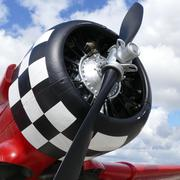 Red plane with propeller - stock photo