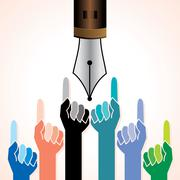 Stock Illustration of hand with pen