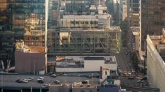 Cityscape With Huge Glass Buildings And People Crossing Road Stock Footage