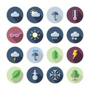 Flat Design Icons For Weather and Nature Stock Illustration