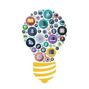 Icons for technology and science arranged in light bulb shape - stock illustration