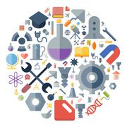 Icons for industrial and science arranged in circle - stock illustration