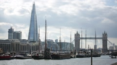 Shard, Tower Bridge and Ships on Thames River, London, England, Europe Stock Footage