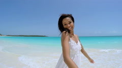Selfie portrait of happy African American girl on vacation beach Stock Footage