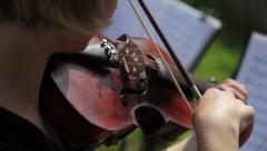 Close up shot of musician playing violin Stock Footage