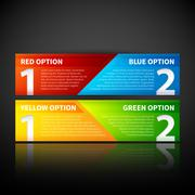 Two colorful banners, combining two options or two points of view. Stock Illustration
