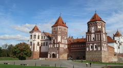 People are visiting the Mir Castle Complex in Mir, Belarus Stock Footage