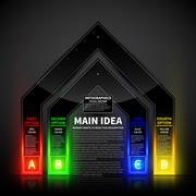 4 colorful glowing options in the form of the gate. Useful for presentations - stock illustration