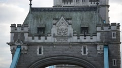 Tower Bridge (coat of arms - top close up), London Stock Footage