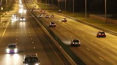 Night transport traffic on the brisk road. Stock Footage