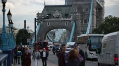 Tower Bridge  traffic, London, GB, England Stock Footage