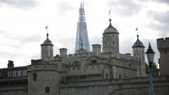 Tower of London and Shard, London, UK, GB, EU - stock footage