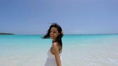 Selfie smiling African American female on vacation resort beach Stock Footage