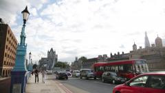 Tower Bridge: wide angle lens, London, England - stock footage