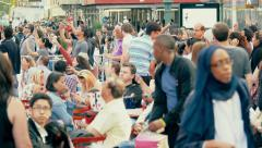 Crowd people tourists busy chaotic Times Square NYC New York City day - stock footage