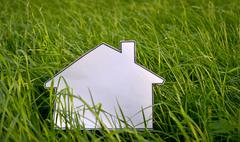 Coloring book house on a green grass Stock Photos