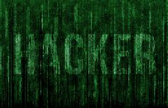 Green digital code with hacker in matrix style Stock Illustration