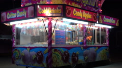 Food Vendor At A Fairground Midway At Night - stock footage