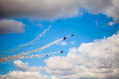 ZHUKOVSKY, RUSSIA - AUG 30, 2015: Aerobatic teams Russian Knights (vityazi) o Stock Photos