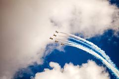 RUSS aerobatic team on MAKS 2015 Stock Photos