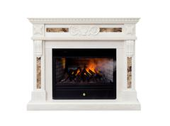White artificial electronic fireplace Stock Photos
