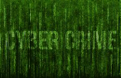 Cyber Crime written on digital Matrix background - stock illustration