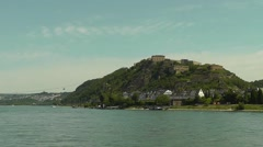 View of Ehrenbreitstein Fortress from the river Rhine, Koblenz, Germany Stock Footage