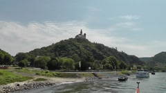 Approaching Marksburg Castle above the town Braubach on the river Rhine, Germany Stock Footage