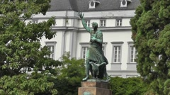 View of the Joseph Görres memorial in Koblenz, Germany Stock Footage