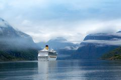 Cruise Liners On Hardanger fjorden - stock photo