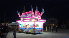 A Mobile Food Concession Trailer Selling Cotton Candy At Night Stock Footage