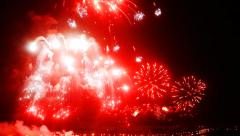 Big Show Firework under the city Stock Footage