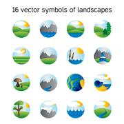Landscape icons collection. Nature symdols Stock Illustration