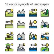 Landscape icons collection. Nature symdols - stock illustration