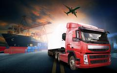 container truck ,ship in port and freight cargo plane in transport and import - stock photo