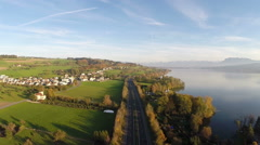 Aerial Video Central Switzerland, Highway A2 - stock footage
